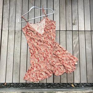 FREE PEOPLE Burgundy Floral Print Wrap Mini Dress